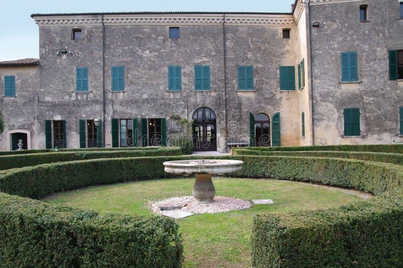 Palazzo Gonzaga in Volta Mantovana, Italië stock afbeelding