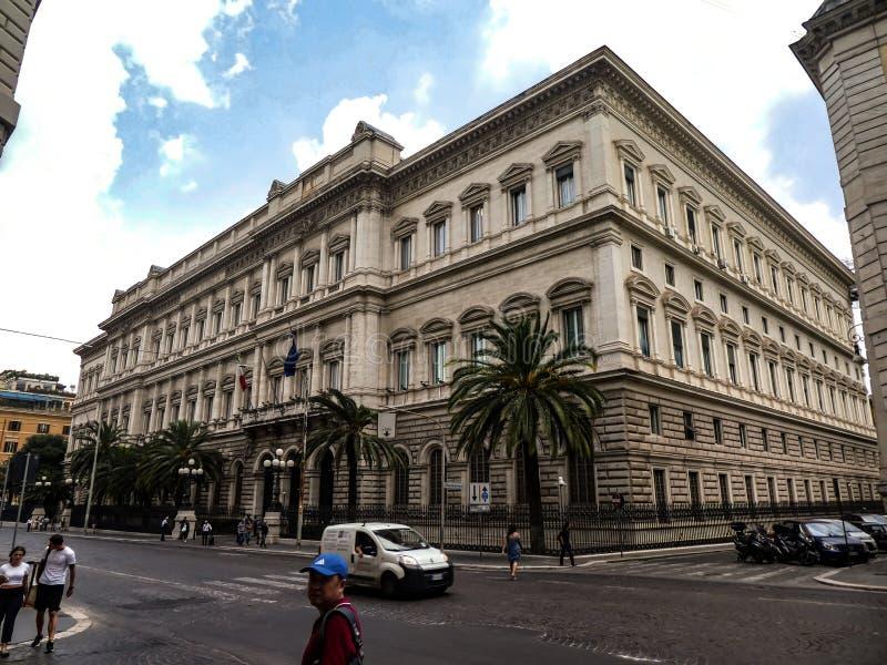 Palazzo Koch in Rome, hoofdkantoor van Banca D 'Italië stock fotografie