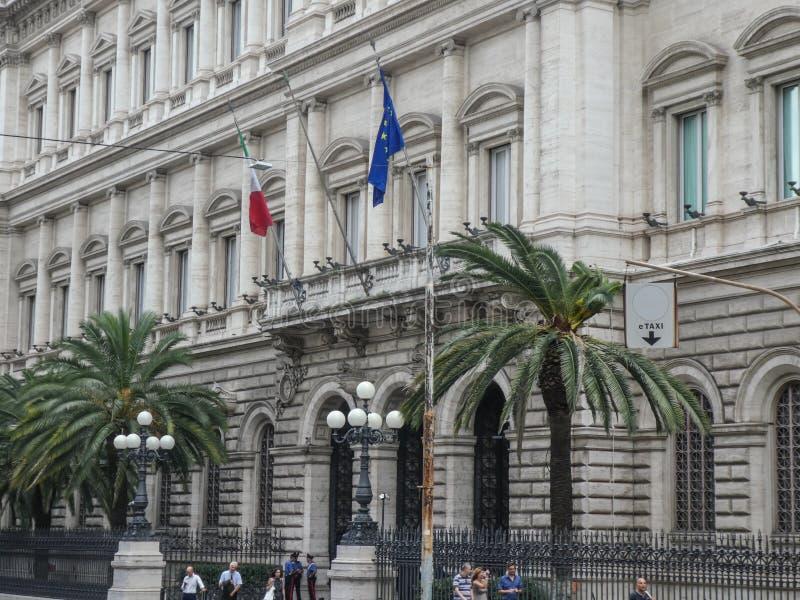 Palazzo Koch in Rome, hoofdkantoor van Banca D ?Itali? stock foto's