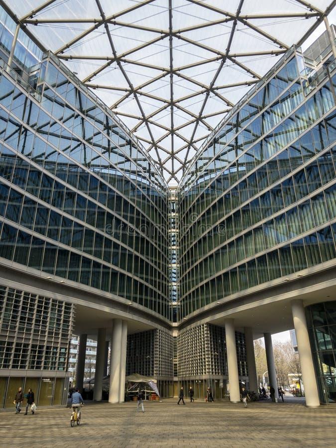 Palazzo Lombardia, Milan, Porta Nuova, skyscraper, Lombardy region, Italy. Inside square stock photos