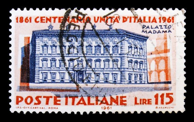Palazzo Madama em Roma, centenário da unificação do SE de Itália ilustração do vetor
