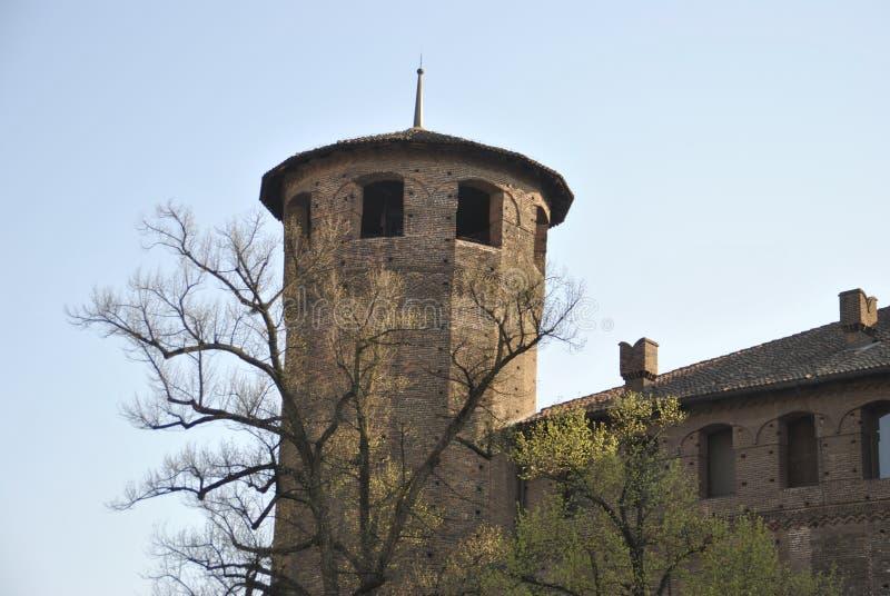 Palazzo Madama tower on Castello square in Torino. A medieval like tower of palazzo Madama on Castello square in Torino stock photo