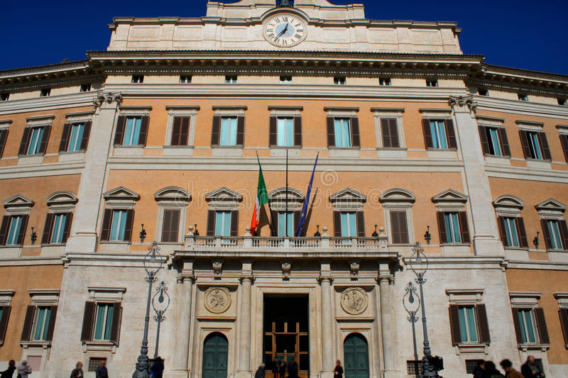 Palazzo Montecitorio is a palace in Rome and the seat of the Italian Chamber of Deputies. stock photos