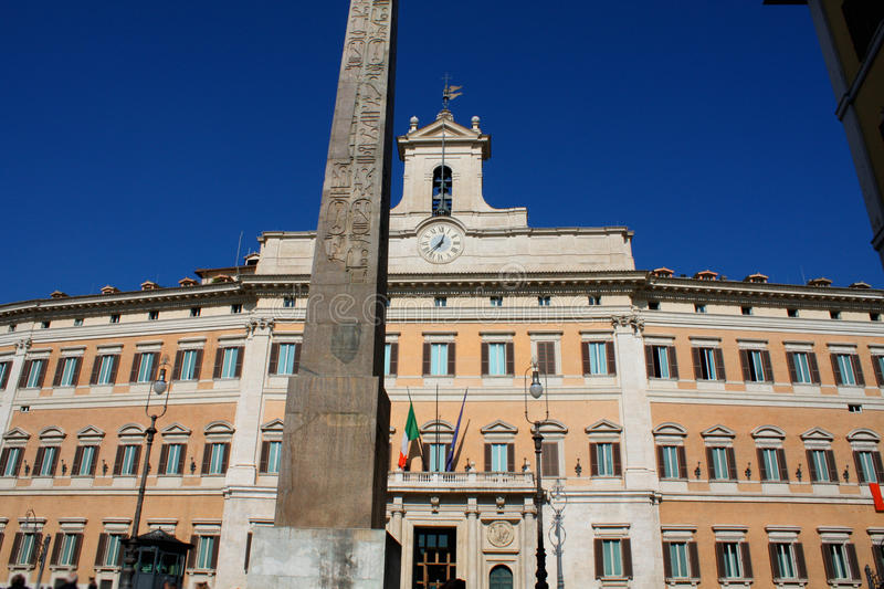 Palazzo Montecitorio is a palace in Rome and the seat of the Italian Chamber of Deputies. stock photography