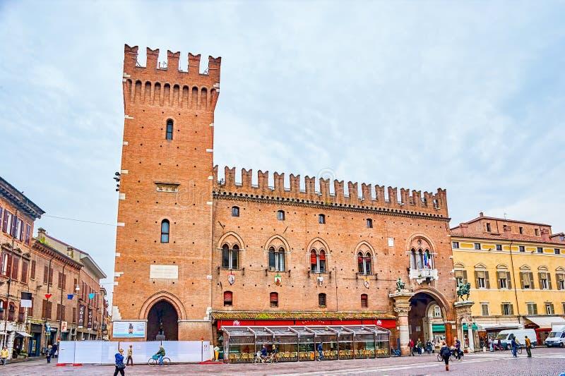 Palazzo Municipale在费拉拉,意大利 库存照片
