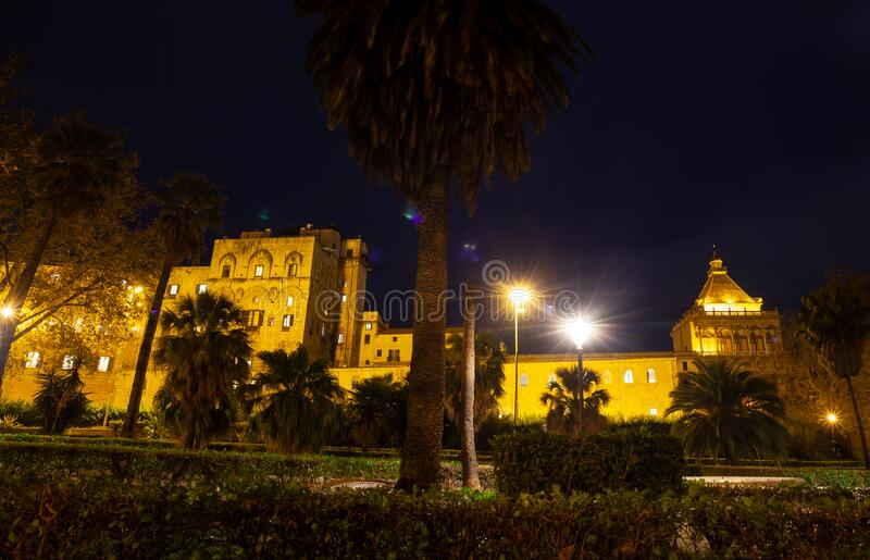 Palazzo Norman o Palazzo Reale di Palermo immagini stock