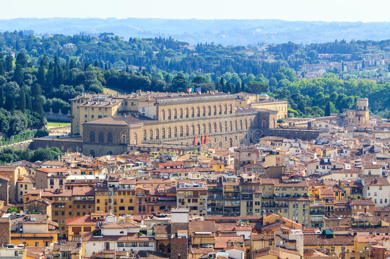 Palazzo Pitti. Aerial View of Palazzo Pitti, one of the famous landmarks in Florence, Italy stock images