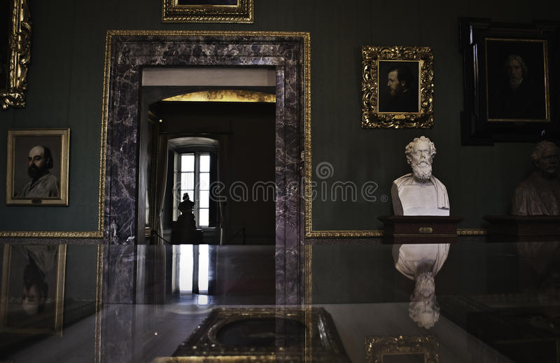 Palazzo Pitti indoor. One of the main museums in Florence ... in English sometimes called the Pitti Palace, is a vast mainly Renaissance palace in Florence royalty free stock image