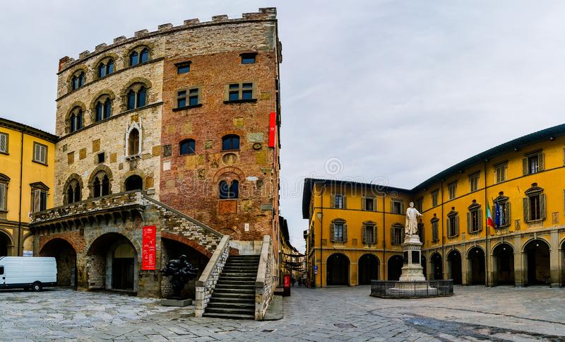 Palazzo Pretorio of Tuscan town of Prato, Italy. Was old city hall located town center, standing in front of current Palazzo Comunale. It now accommodates Civic stock images
