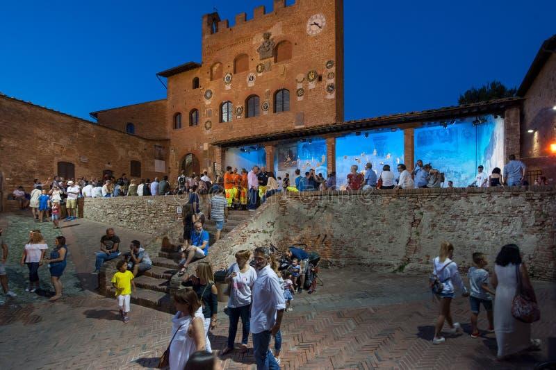 The Palazzo Pretorio, in the upper side Certaldo. stock image