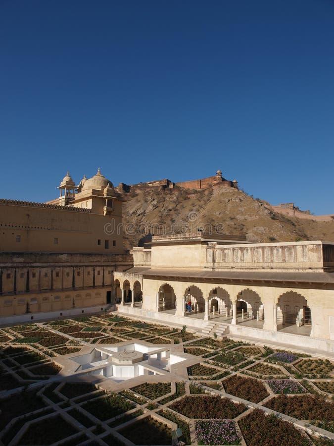 Palazzo principale della fortificazione ambrata a Jaipur, India immagini stock libere da diritti