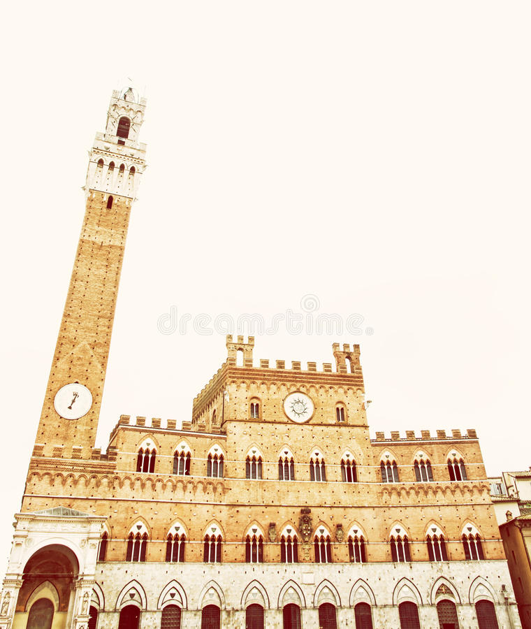 Palazzo Pubblico - town hall in Siena, Tuscany, Italy, yellow filter royalty free stock image