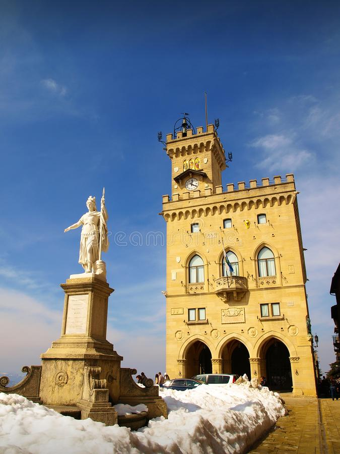 Palazzo Publico - The Public Palace - and The Statue of Liberty, San Marino stock image