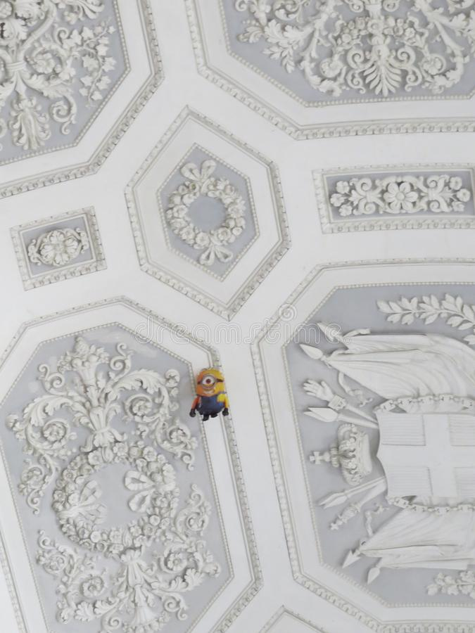 Palazzo Reale - Royal Palace in Naples, Italy. Napoly, Napoli. Minion helium balloon on the ceiling royalty free stock photo