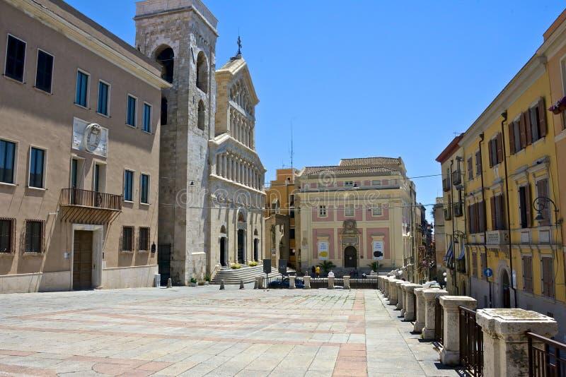 Palazzo ` s kwadrat w Cagliari zdjęcia royalty free