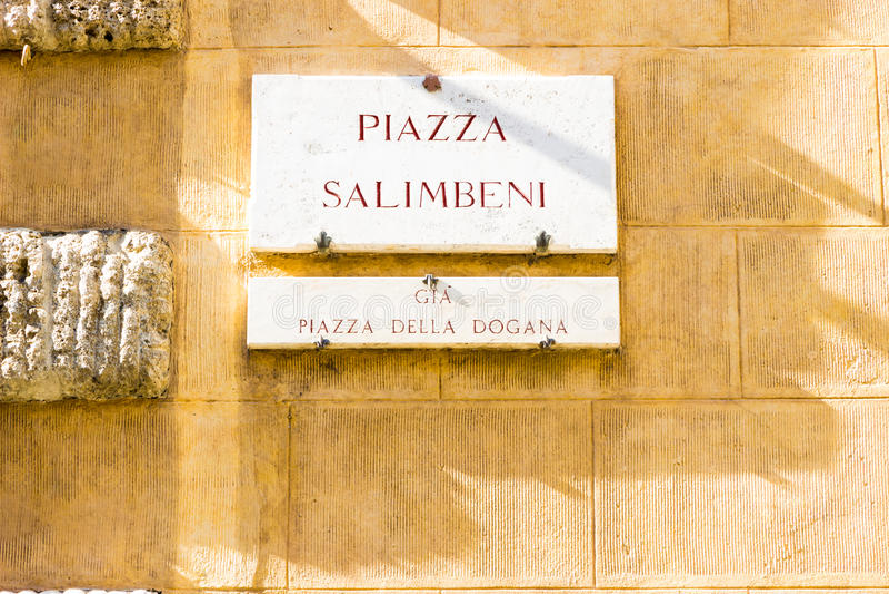 Palazzo Salimbeni in Siena, Italy. Siena, Italy - September 29, 2016: Palazzo Salimbeni, headquarters of the Monte dei Paschi di Siena bank royalty free stock photo