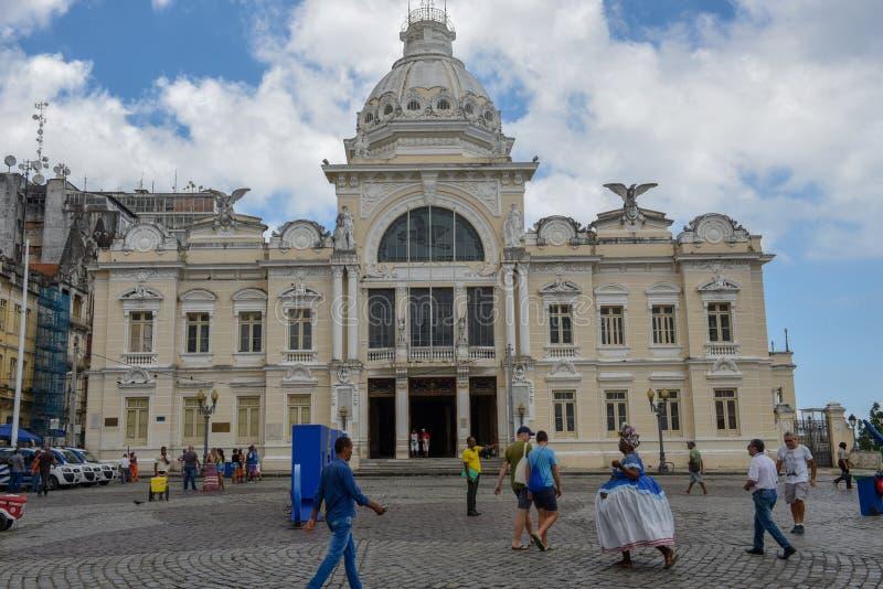 Palazzo storico di Rio Branco a Salvador Bahia sul Brasile fotografia stock libera da diritti