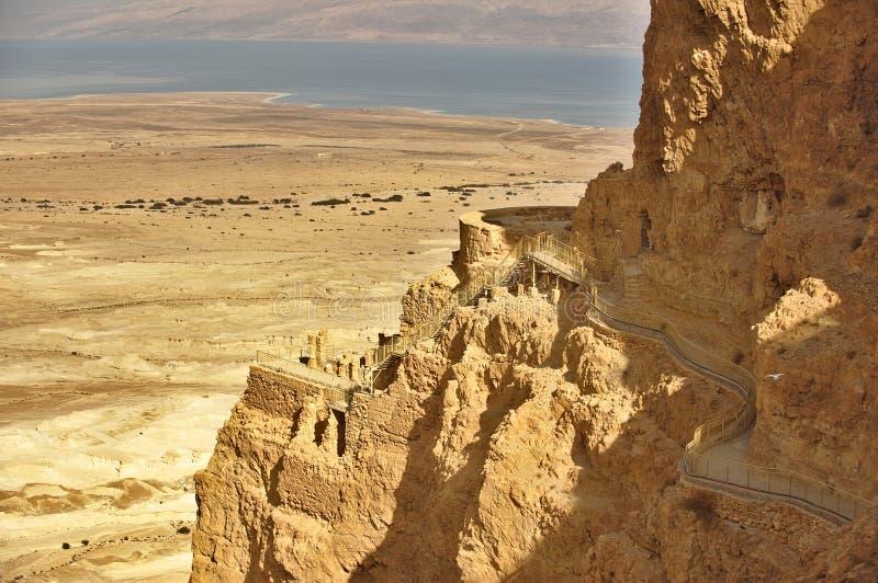 Palazzo sulla roccia di Masada, Israele di Irod fotografie stock libere da diritti