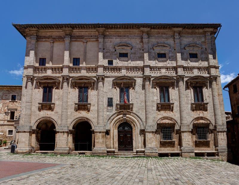 Palazzo Tarugi Palace Piazza Grande square, Montepulciano, Tuscany, Italy. The Palazzo Tarugi by Antonio da Sangallo the Elder or Jacopo Barozzi da Vignola at stock photo