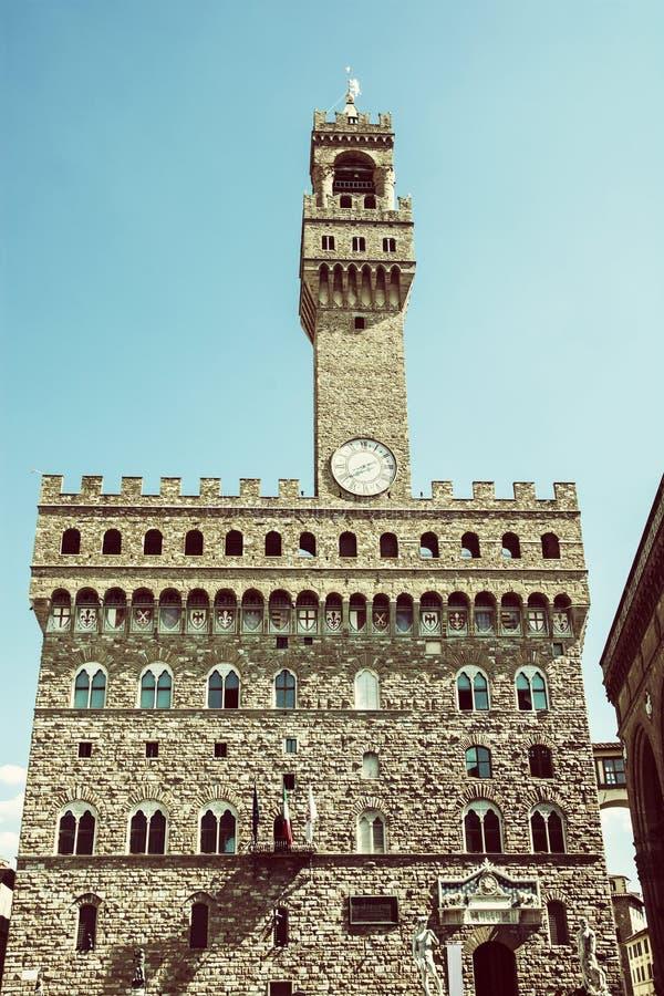 Palazzo Vecchio,佛罗伦萨,意大利,老过滤器 免版税库存照片