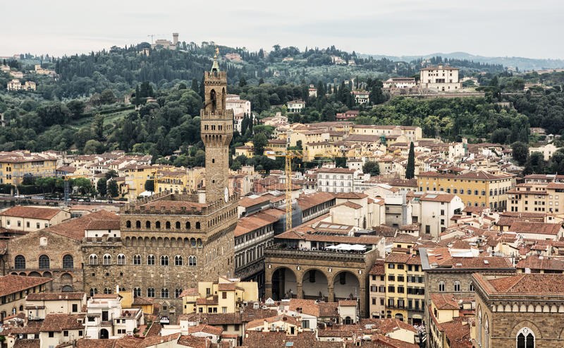 Palazzo Vecchio (老宫殿)在历史的城市佛罗伦萨,意大利 库存图片