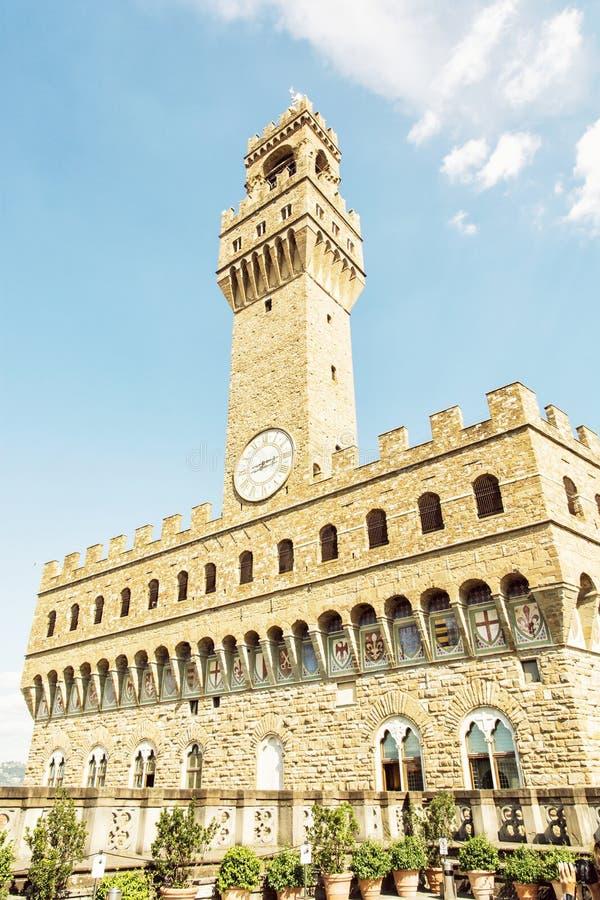 Palazzo Vecchio (老宫殿),佛罗伦萨,意大利,黄色过滤器 免版税库存照片
