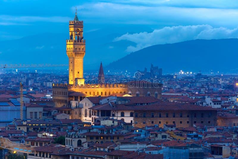 Palazzo Vecchio bij schemering in Florence, Italië royalty-vrije stock afbeeldingen