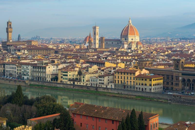 Palazzo Vecchio et cathédrale Santa Maria Del Fiore de Piazzale Michaël Angelo, Florence photographie stock