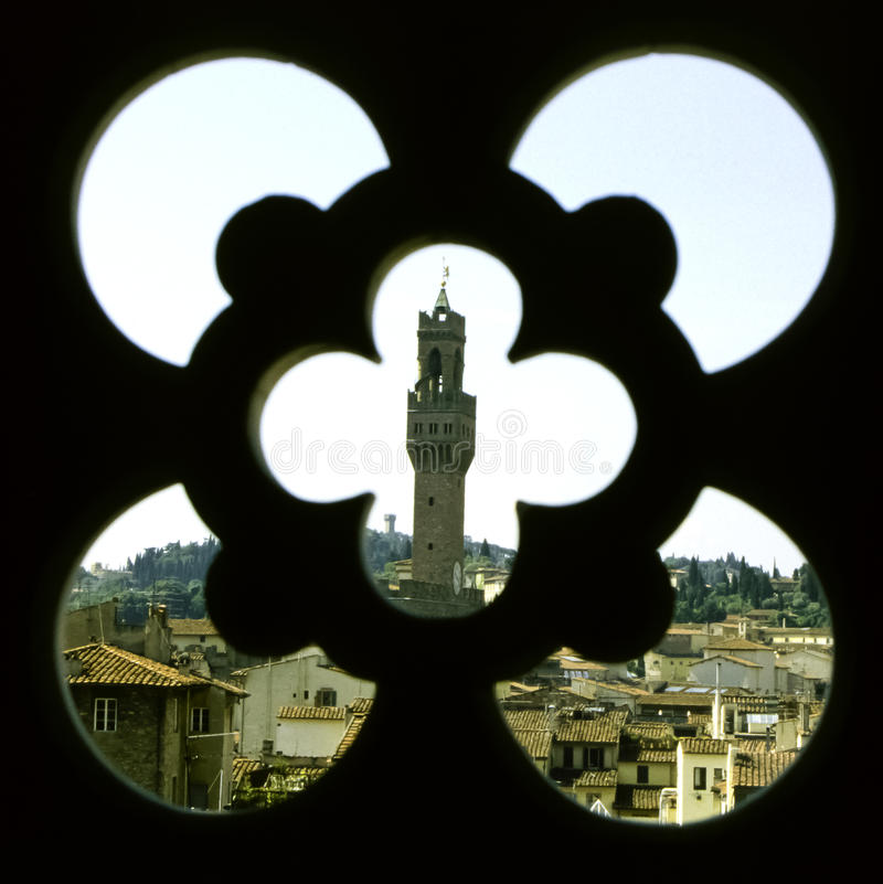 Palazzo Vecchio, Florence. View on the Palazzo Vecchio in Florence, Italy, from the campanile of the Duomo royalty free stock photos