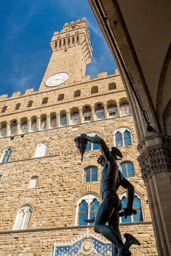 Palazzo Vecchio in Florence, Italy. . Perseus whith the head of Medusa satue royalty free stock photo