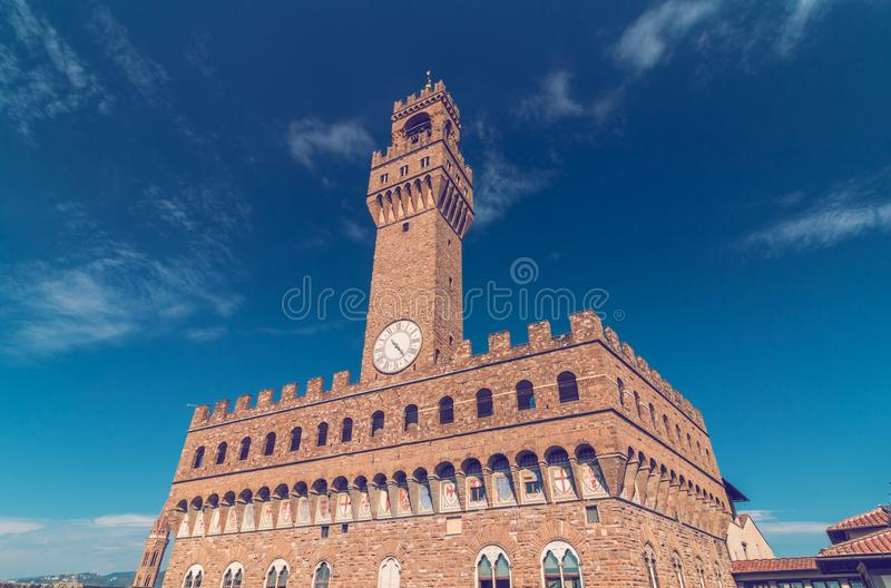 Palazzo Vecchio in Florence. Palazzo Vecchio building in Florence, Italy, wide shot stock images