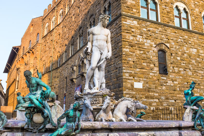 Palazzo vecchio. Marble statue in front of the The Palazzo Vecchio, old palace and art gallery of the Medici family, Florence, Tuscany, Italy royalty free stock images