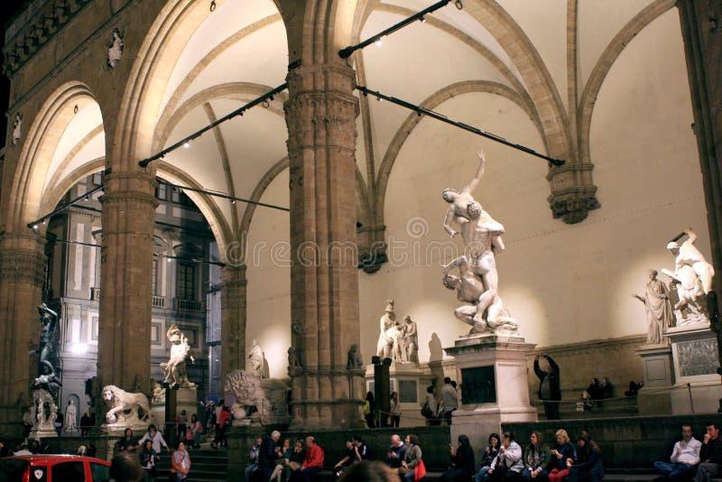 Palazzo Vecchio statyer Florence Italy arkivfoton