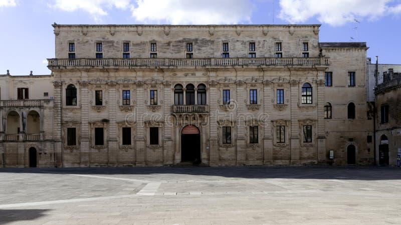 Palazzo Vescovile Seminario 莱切 Apulia,意大利 免版税库存图片