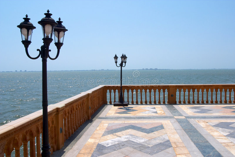 Palazzo View. A view of the gulf of mexico from a venetian style palazzo stock photography