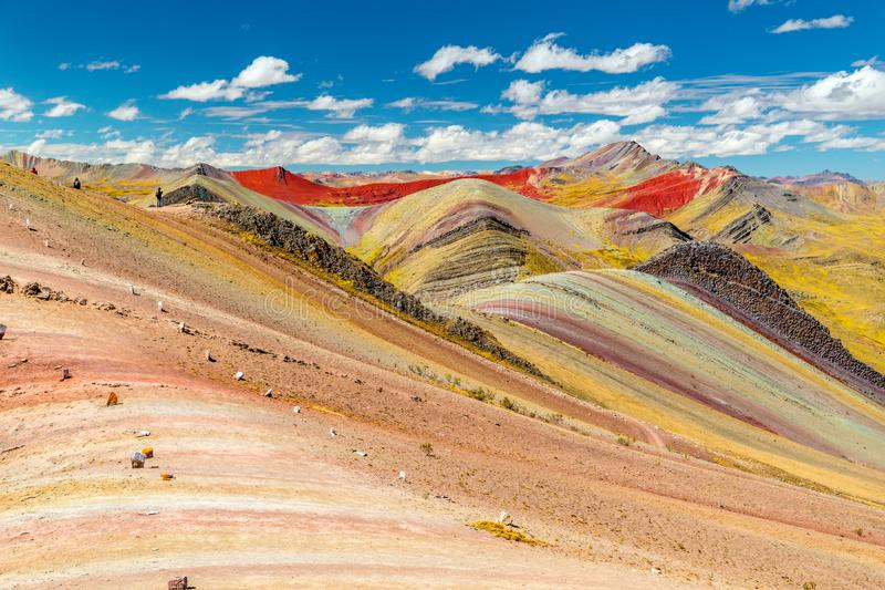 Palccoyo rainbow mountain landscape Vinicunca alternative, epic view to colorful valley, Cusco, Peru, South America stock images
