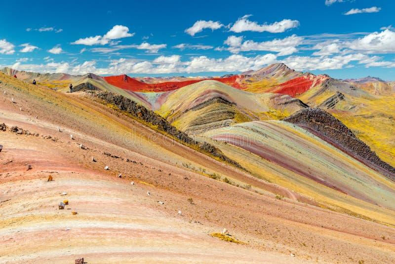 Palccoyo-Regenbogenberglandschaft Vinicunca-Alternative, epische Ansicht zum bunten Tal, Cusco, Peru, Südamerika stockbilder