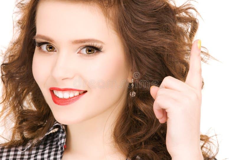 Download Palcowa Dziewczyna Jej Nastoletni Up Obraz Stock - Obraz złożonej z przyrost, brunetka: 13329389