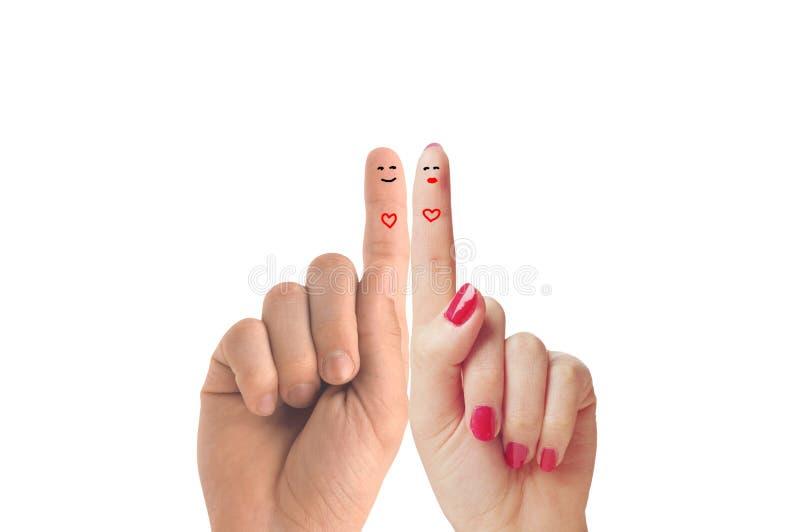 Palcowa szczęśliwa para w miłości z malującym smiley zdjęcia royalty free