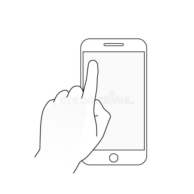 Palcowego dotyka smartphone pusty ekran Nowożytny konturu pojęcie dla sieć sztandarów, strony internetowe, infographics Mobilny a ilustracji