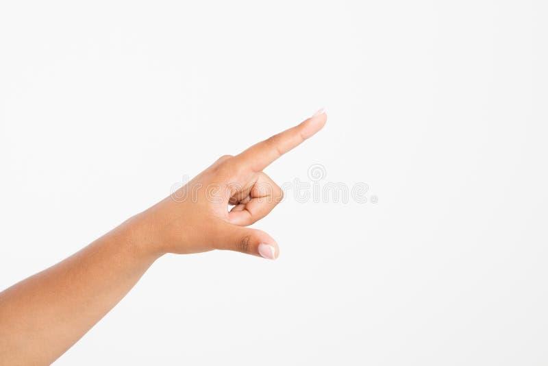 Palcowego punktu odosobniony biały tło afro amerykańska ręka Egzamin próbny Up kosmos kopii szablon blank zdjęcia royalty free