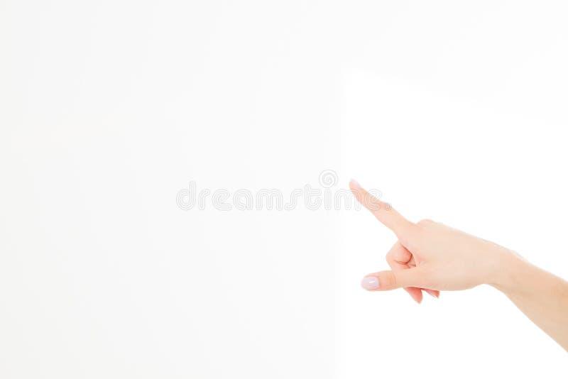 Palcowego punktu odosobniony biały tło caucasian ręka Egzamin próbny Up kosmos kopii szablon blank zdjęcia stock