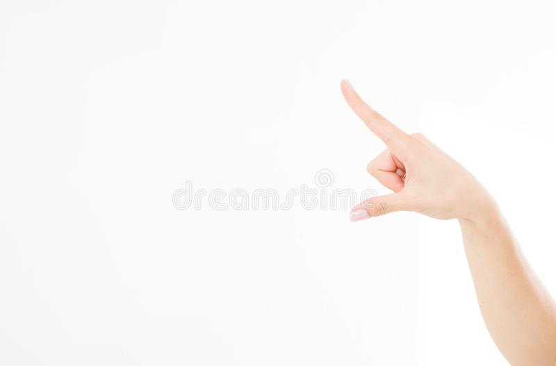 Palcowego punktu odosobniony biały tło caucasian ręka Egzamin próbny Up kosmos kopii szablon blank fotografia royalty free