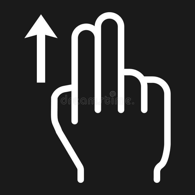 2 palcowego zamachu up kreskowa ikona, dotyk i gest, ilustracja wektor