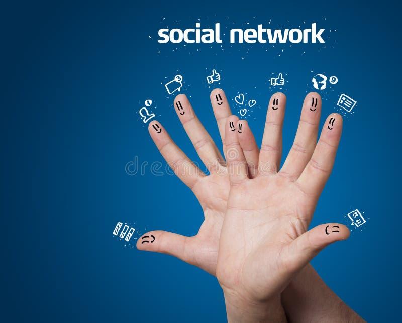 palcowi ikon sieci znaka smileys ogólnospołeczni zdjęcie stock