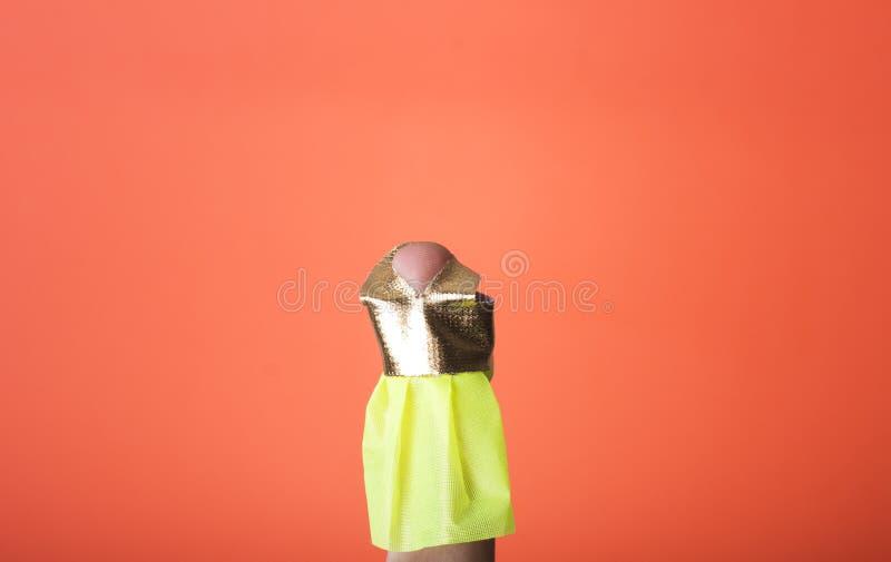 Palcowy będący ubranym suknię. Ty możesz rysować co chcesz ty zdjęcia stock