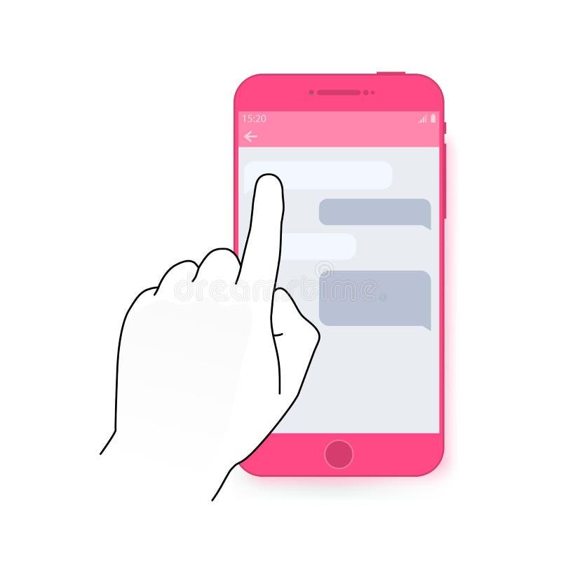 Palcowy dotyka smartphone ekran z gadka dialog Nowożytny pojęcie dla sieć sztandarów, strony internetowe, infographics Kreatywnie ilustracja wektor