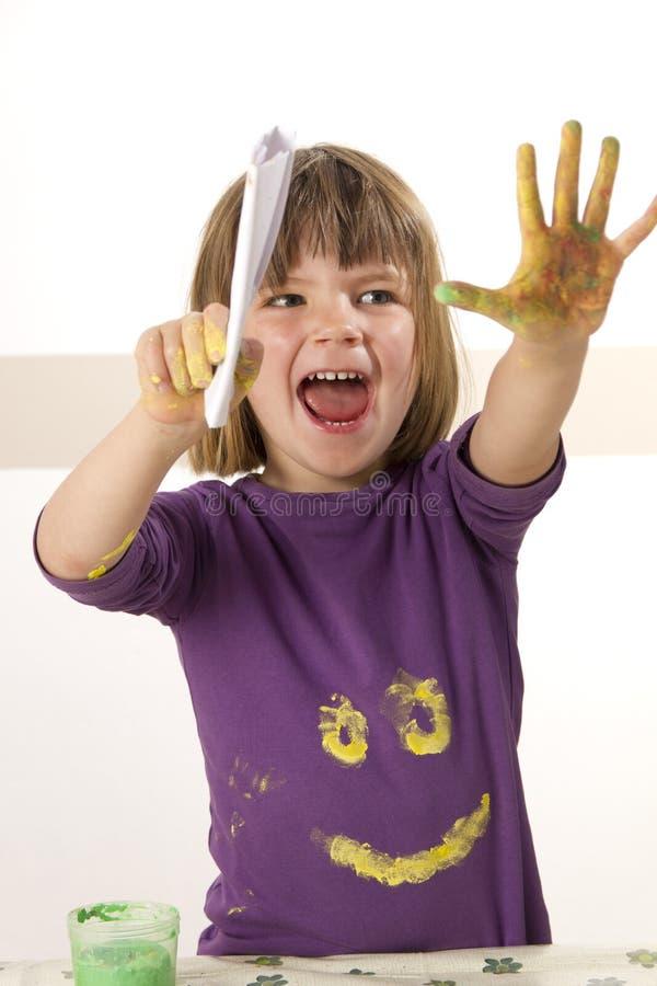 palcowy dziewczyny farby obraz zdjęcia royalty free