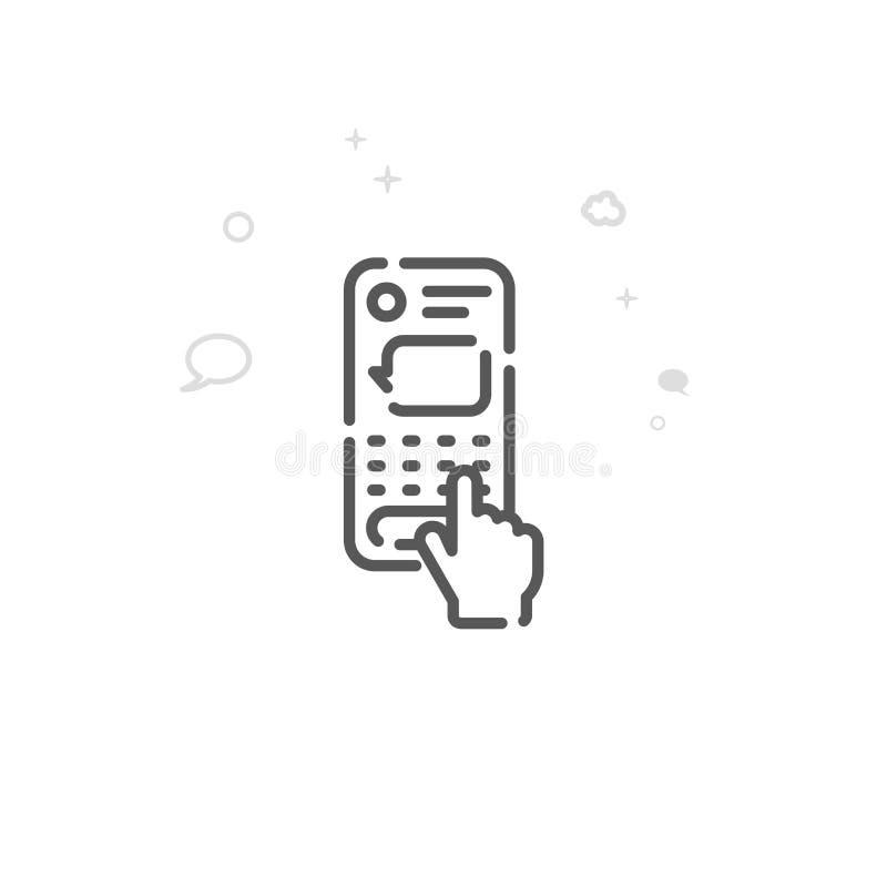 Palcowy Pisać na maszynie wiadomość tekstową na Smartphone wektoru linii ikonie, symbol, piktogram, znak Editable uderzenie ilustracji