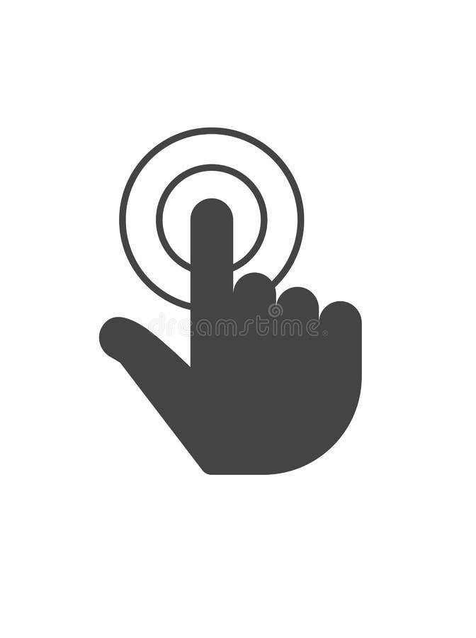 Palcowy stuknięcie, ręki ikona, czarna sylwetka Wektorowy symbol odizolowywający na białym tle ilustracji